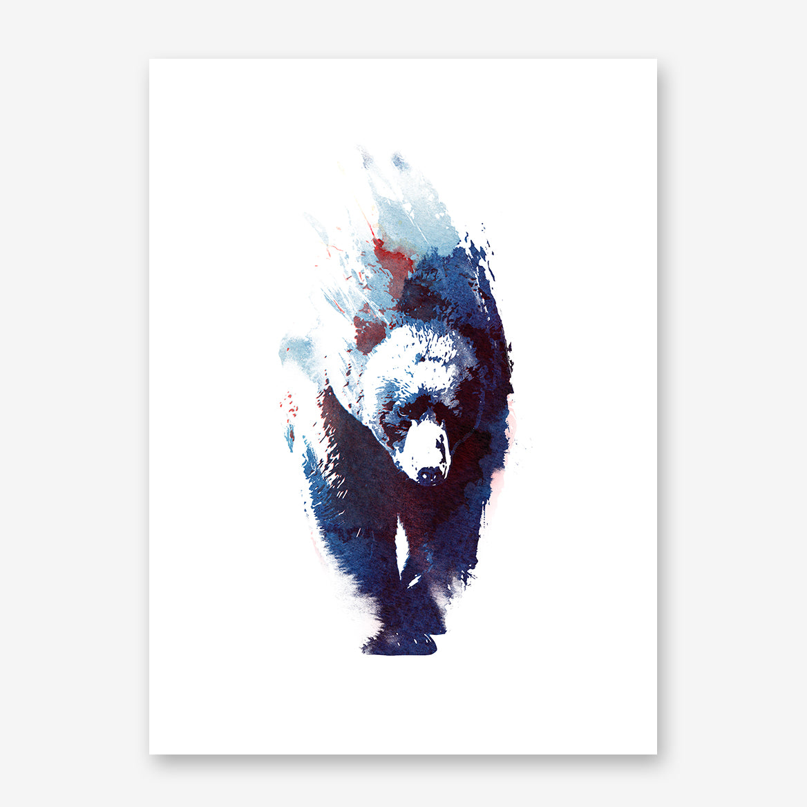 Watercolour poster print by Robert Farkas, with a blue bear, on a white background.