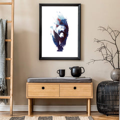 Watercolour poster print by Robert Farkas, with a blue bear, on a white background, in living room