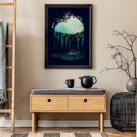 Poster print with a fox in the middle of the forest, in hallway