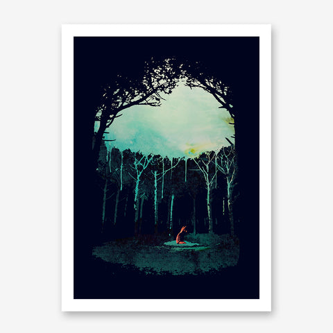 Poster print by Robert Farkas, with a fox in the middle of the forest