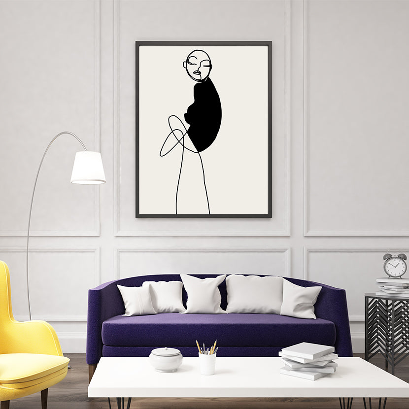 Abstract line art poster print by Sophia Novosel, with a woman in black and grey, living room view