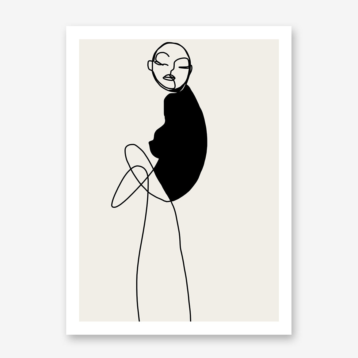Abstract line art poster print by Sophia Novosel, with a woman in black and grey