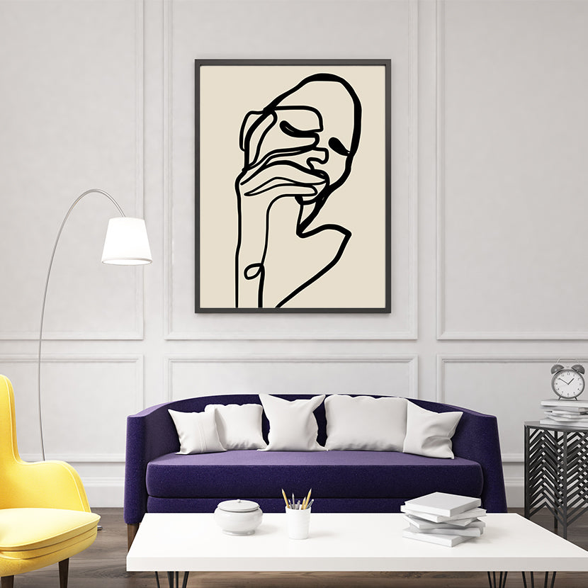 Abstract line art poster print by Sophia Novosel, with a woman's portrait in black, living room view
