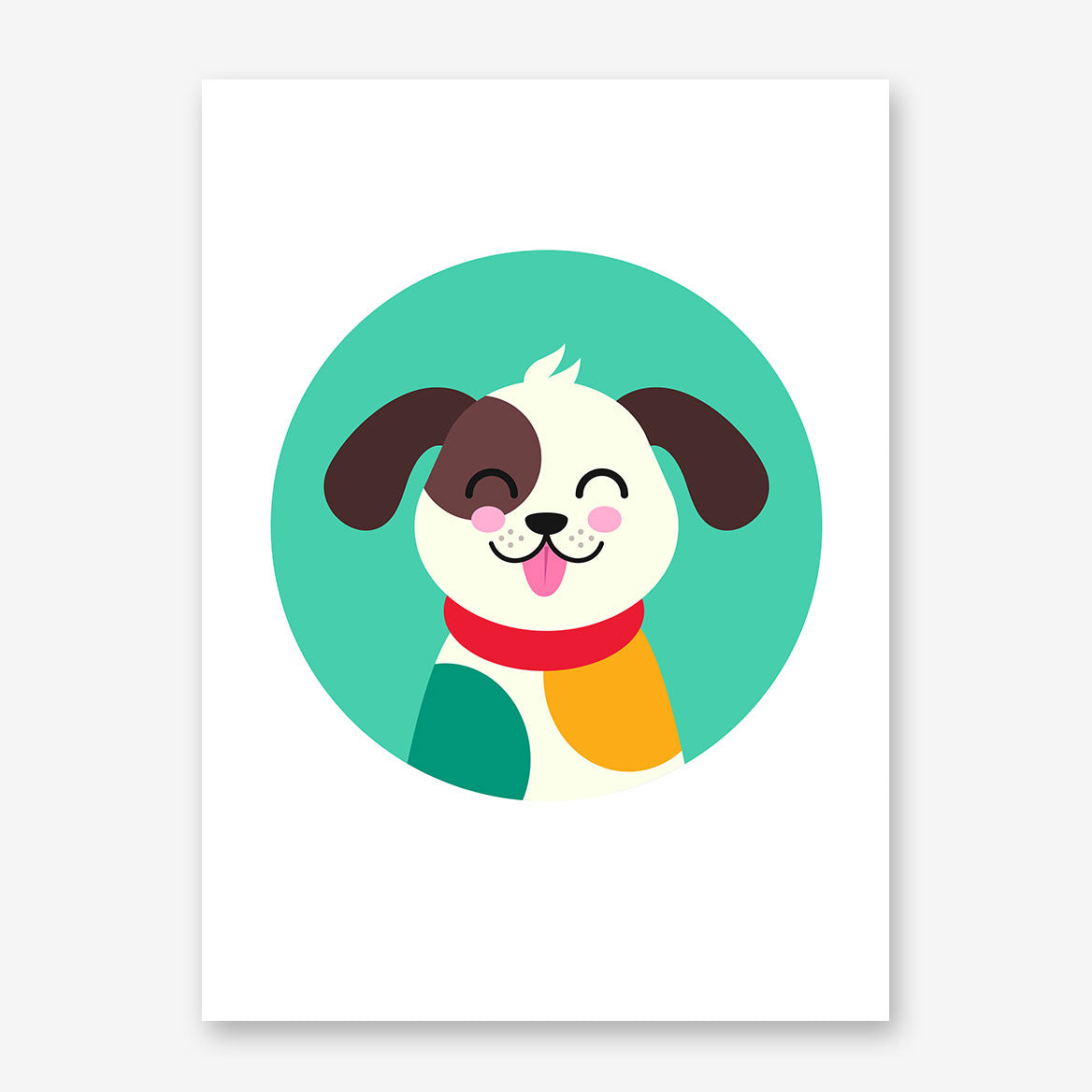 Nursery poster print with a smiley dog in a blue circle.