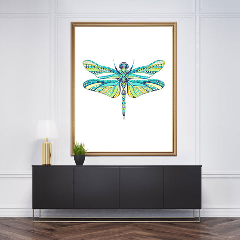 Patterned wall art decor with a coloured dragonfly on white background
