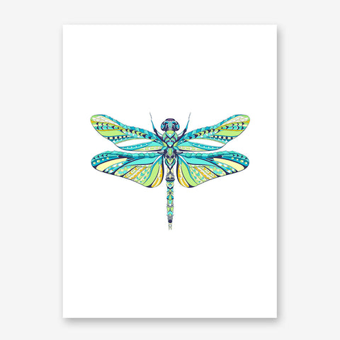 Patterned poster print with a coloured dragonfly on white background
