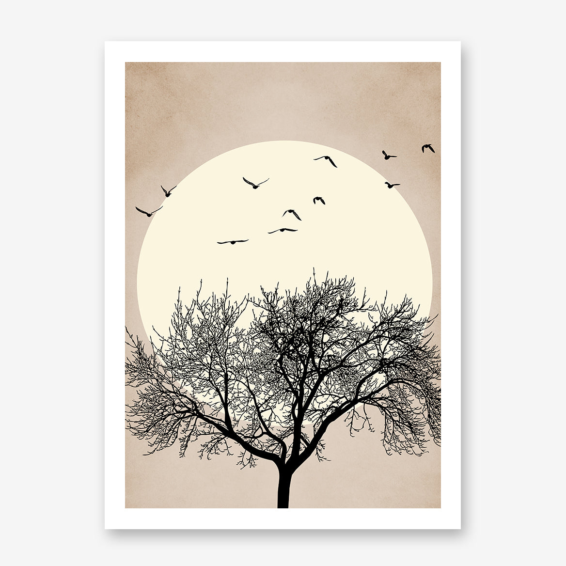 Illustration print by Kubistika, with black tree and birds, and beige sun, on textured light brown  background