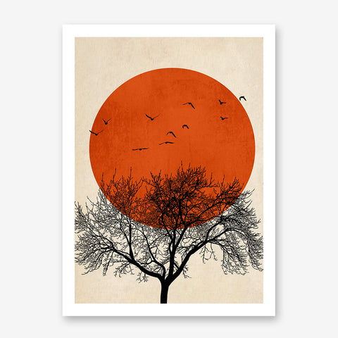 Illustration print by Kubistika, with black tree and birds, and dark orange sun, on textured beige background