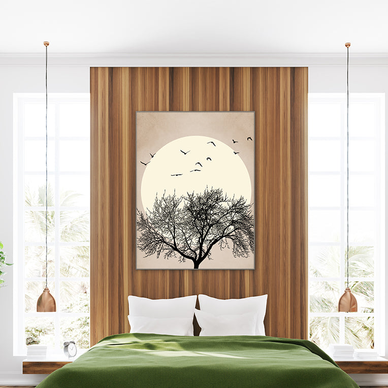 Illustration print by Kubistika, with black tree and birds, and beige sun, on textured light brown background; bedroom view