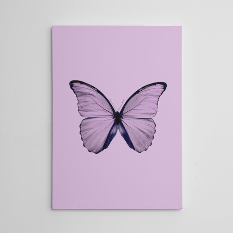 Beautiful canvas print with dusty pink butterfly and background