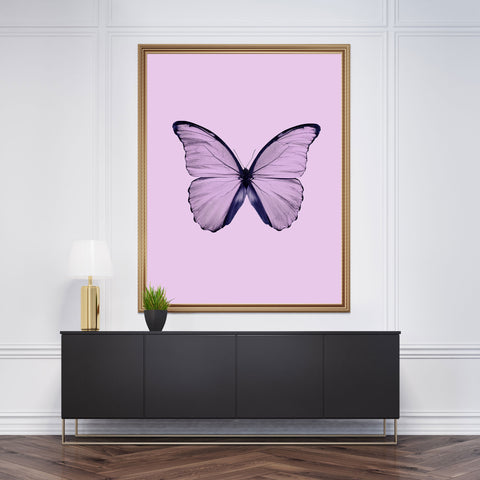 Beautiful dusty pink butterfly photography poster print on pink background