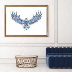 Patterned wall art print with colourful flying eagle on white background