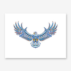 Patterned poster print with colourful flying eagle on white background
