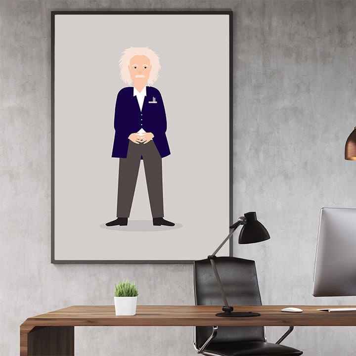 Celebrity illustration print of Albert Einstein stylishly drawn by Judy to bring out the essence of his style and character, in office