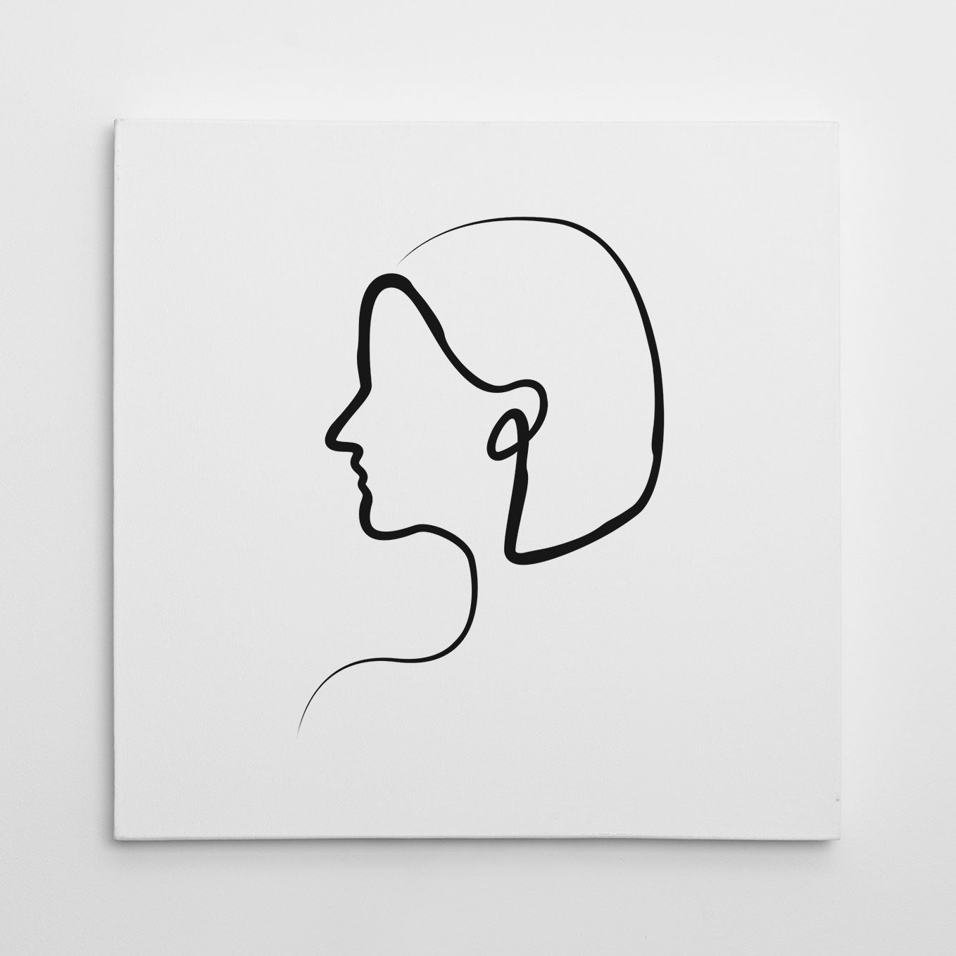 Line art canvas print with a woman's profile