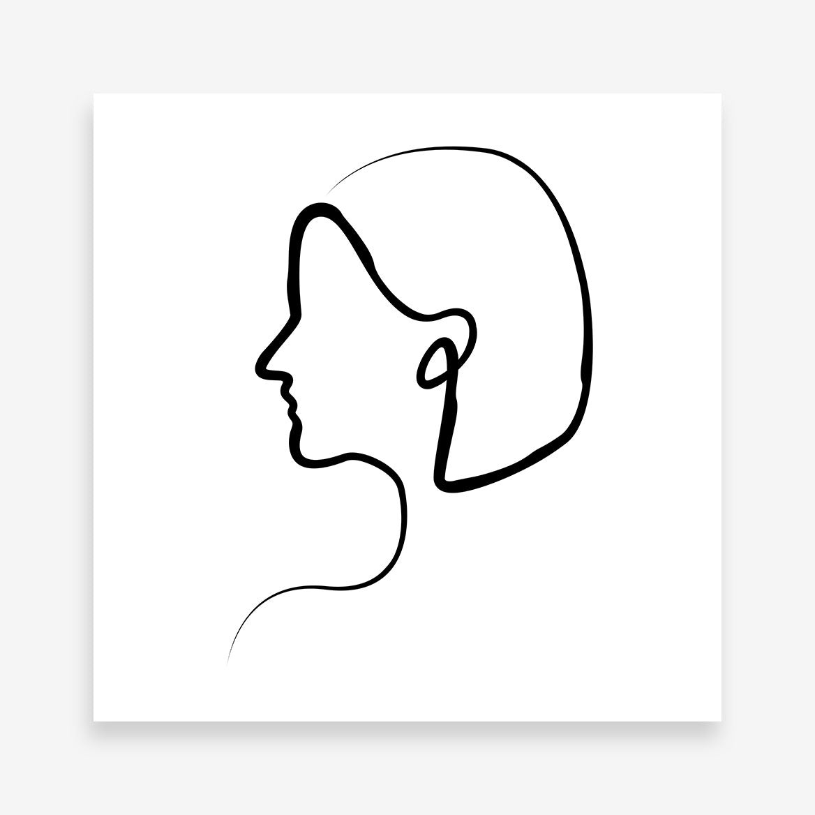 Line art poster print with a woman's profile.