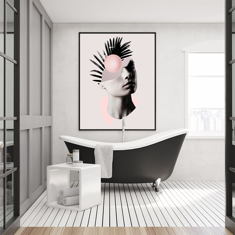 Abstract poster print by Robert Farkas, with a woman's portrait, in bathroom