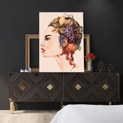 Fashion poster print of an original painted art, with a woman's portrait with fruits and an octopus on her head, in bedroom