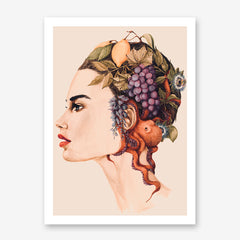 Fashion poster print of an original painted art, with a woman's portrait with fruits and an octopus on her head.