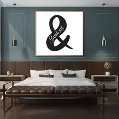 Minimalist print with a black ampersand (&) and the word 'fabulous', on white background, framed