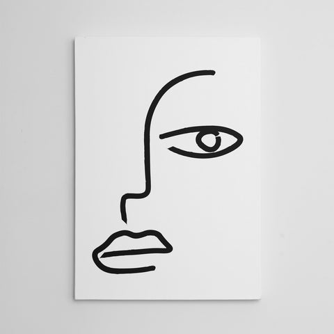 Line art canvas print with an abstract face drawing