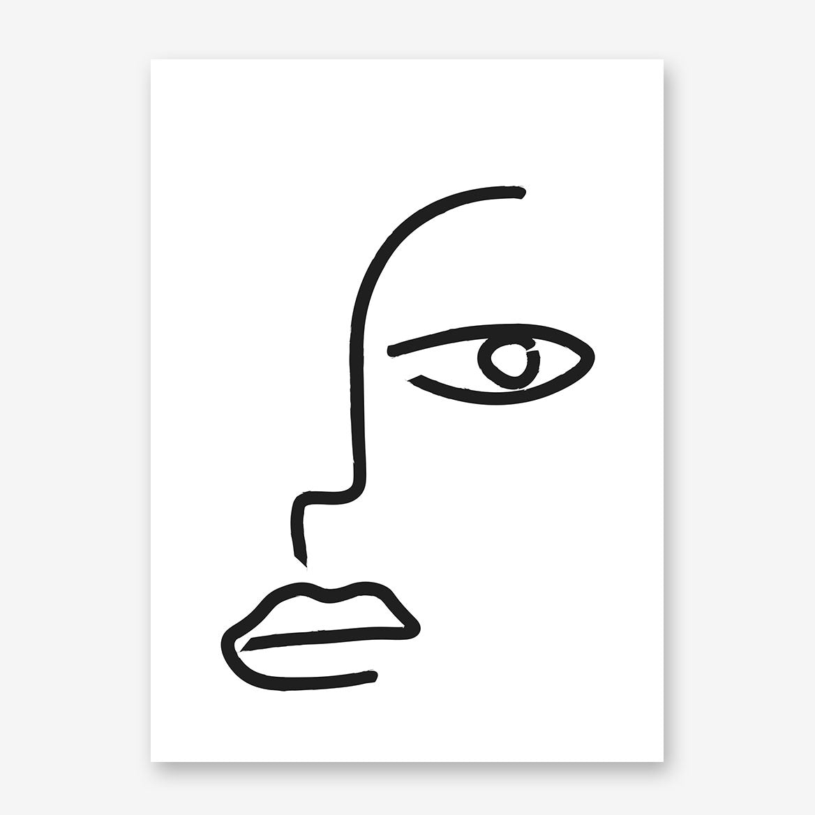 Line art poster print with abstract face drawing.