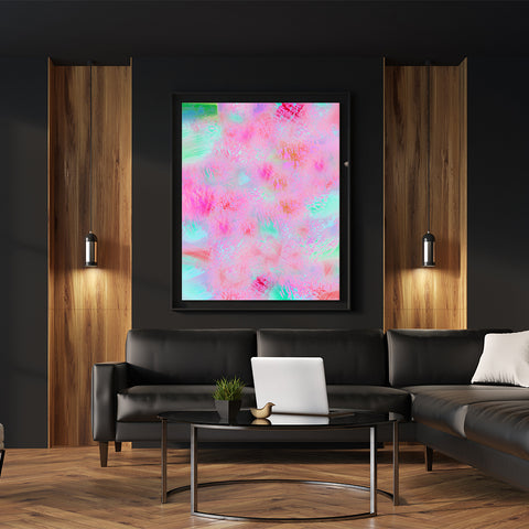 Poster print with pink, mint and green abstract digital art, in living room