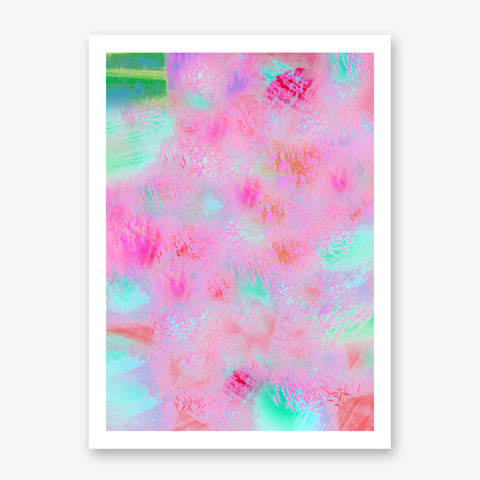 Poster print with pink, mint and green abstract digital art.
