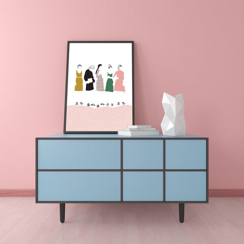 Illustration print by Linda Gobeta, with girls in fashion line, on white & pink background, framed view