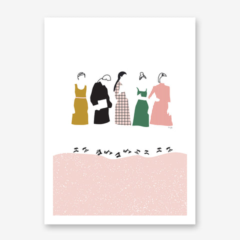 Illustration print by Linda Gobeta, with girls in fashion line, on white & pink background.