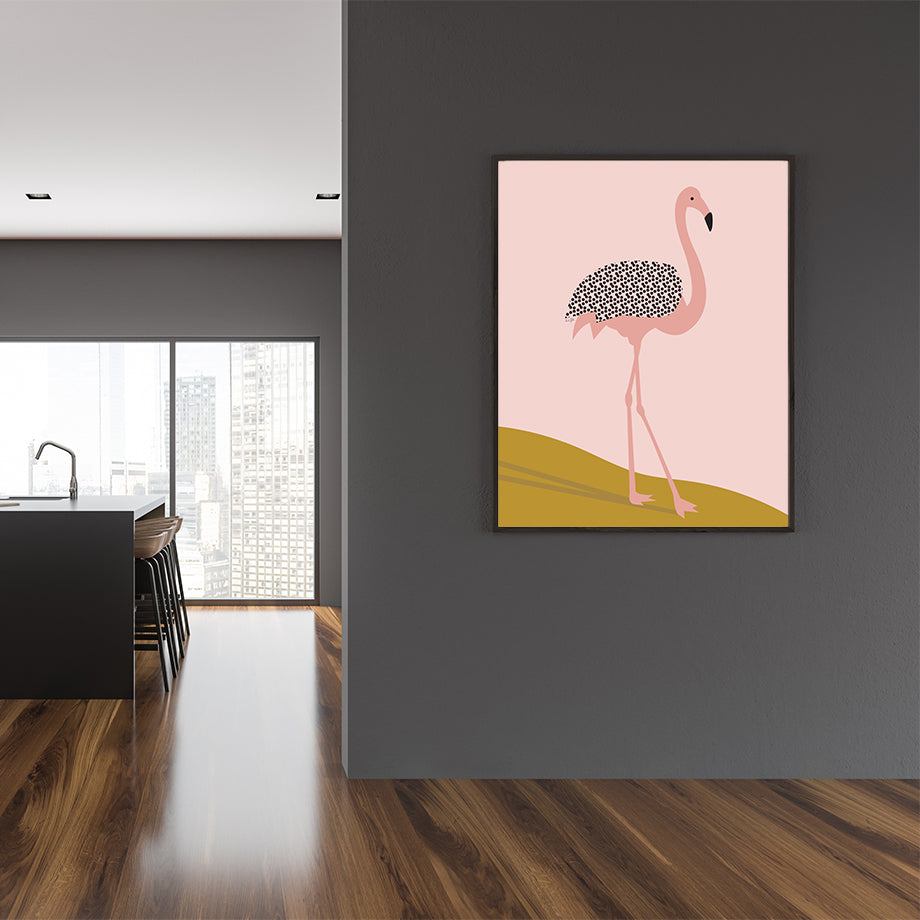 Illustration print by Linda Gobeta, with a pink and black flamingo, framed view