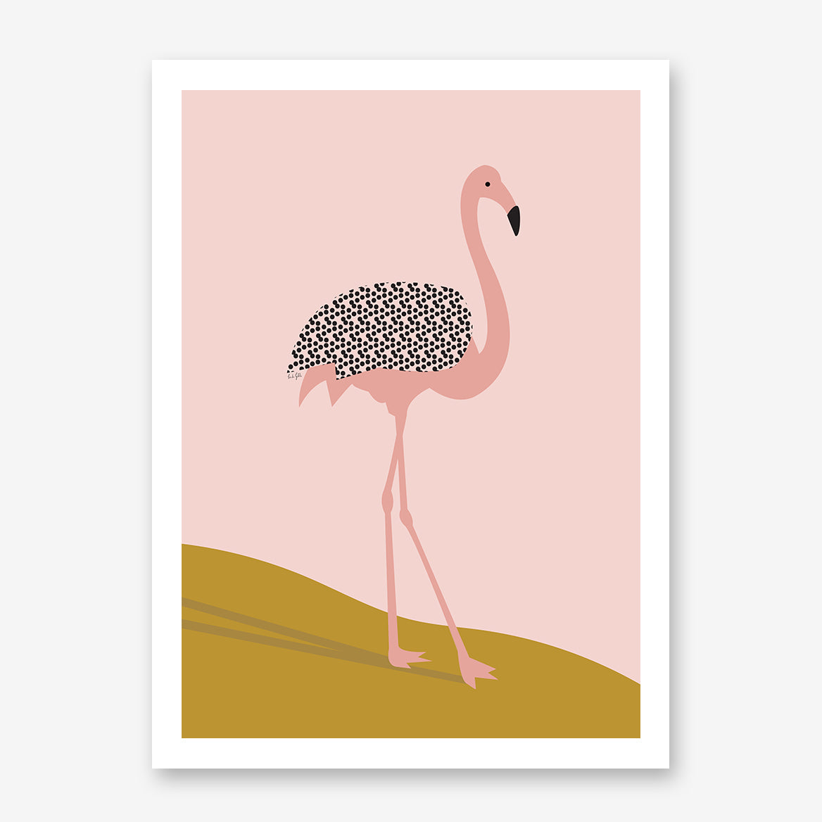 Illustration print by Linda Gobeta, with a pink and black flamingo.