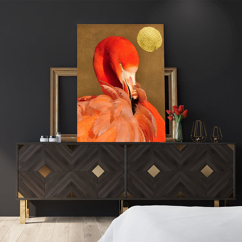 Beautiful textured poster print by Kubistika, with red flamingo and golden sun, on dark gold background, in bedroom