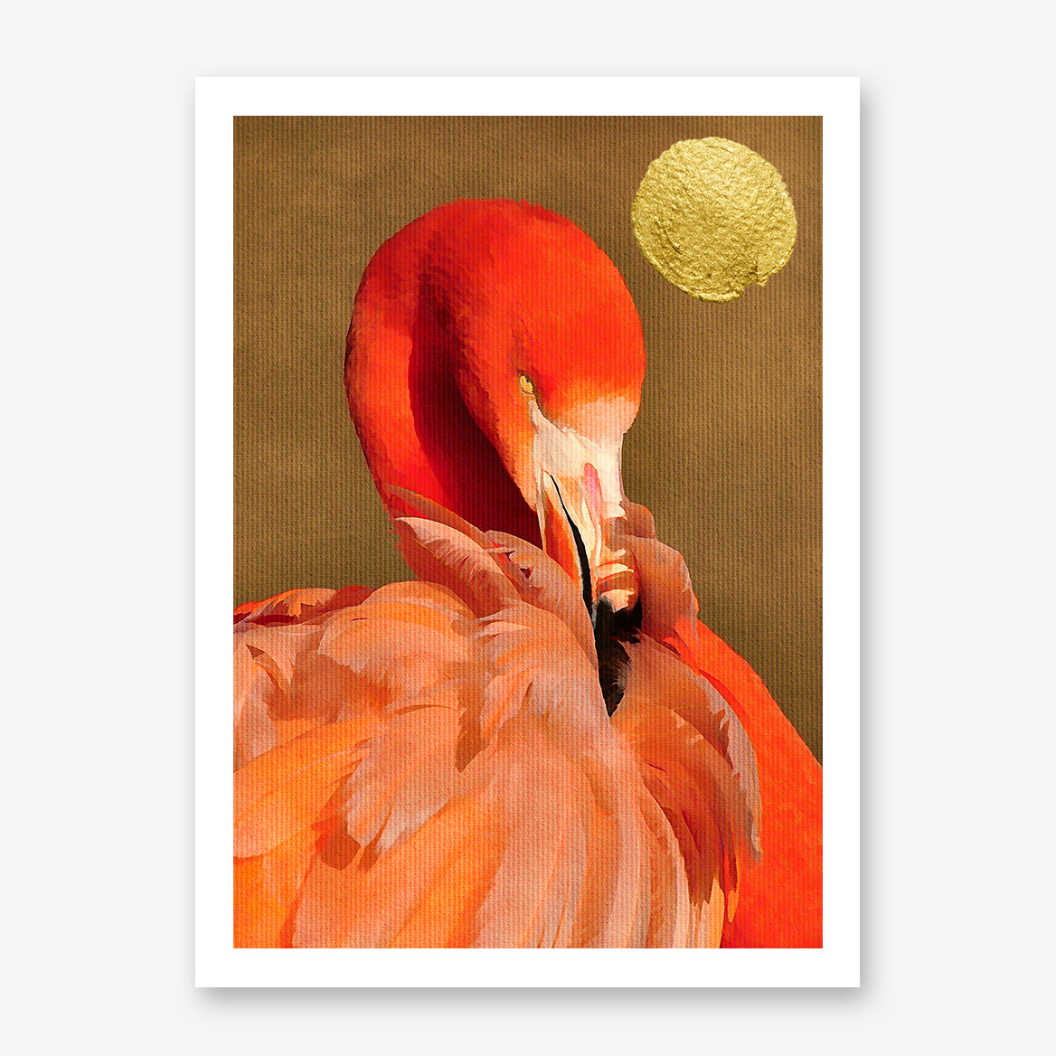 Beautiful textured poster print by Kubistika, with red flamingo and golden sun, on dark gold background