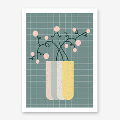 Illustration poster print by Linda Gobeta, with large vase and pink flowers, on dark green background.