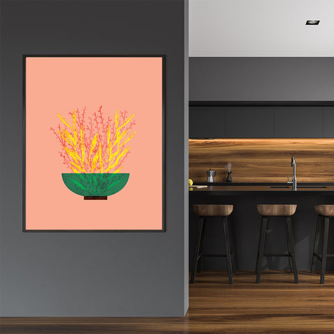 Modern illustration print with yellow and pink potted plant, on peach background, in dining room