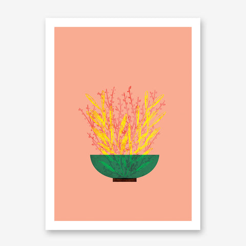 Modern illustration print by Judy Kaufmann, with yellow and pink potted plant, on peach background.