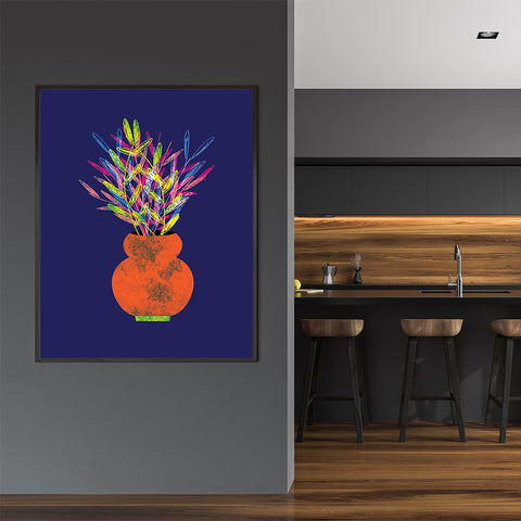Modern illustration print by Judy Kaufmann, with rainbow potted plant, on blue background, in kitchen