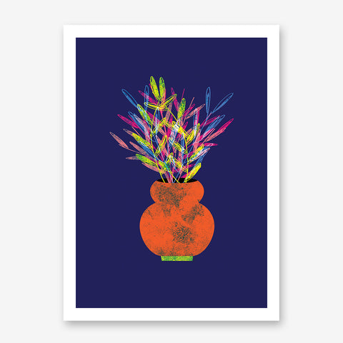 Modern illustration print by Judy Kaufmann, with rainbow potted plant, on blue background