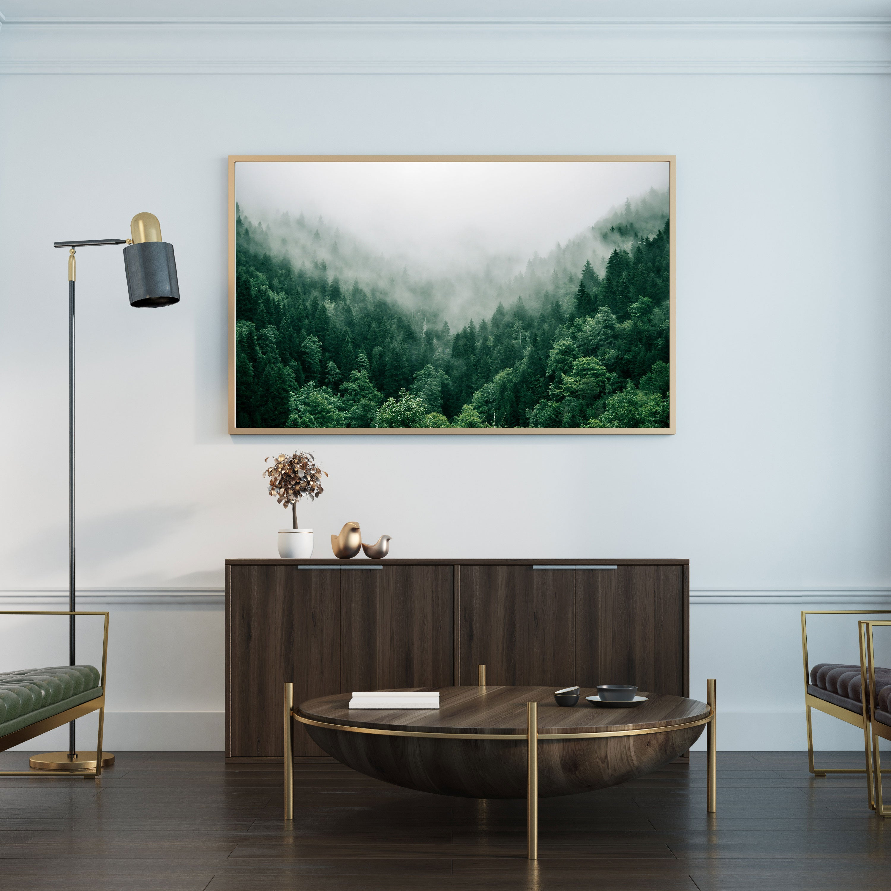 Foggy mountain green forest photography wall art