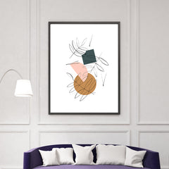 Geometrical print with colourful shapes and black line leaves, on white background, living room view