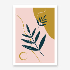 Illustration poster print by Linda Gobeta, with green leaves, on pink and mustard coloured background.