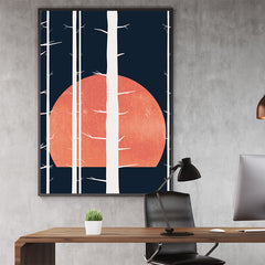 Illustration print by Kubistika, with white trees and orange full moon, on dark blue background, in office
