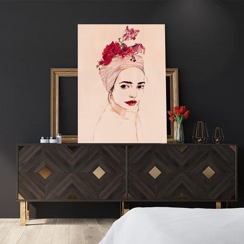 Poster print of an original painted art, with a delicate woman with red lips and flowers, in bedroom