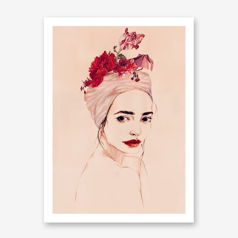 Poster print of an original painted art, with a delicate woman with red lips and flowers.