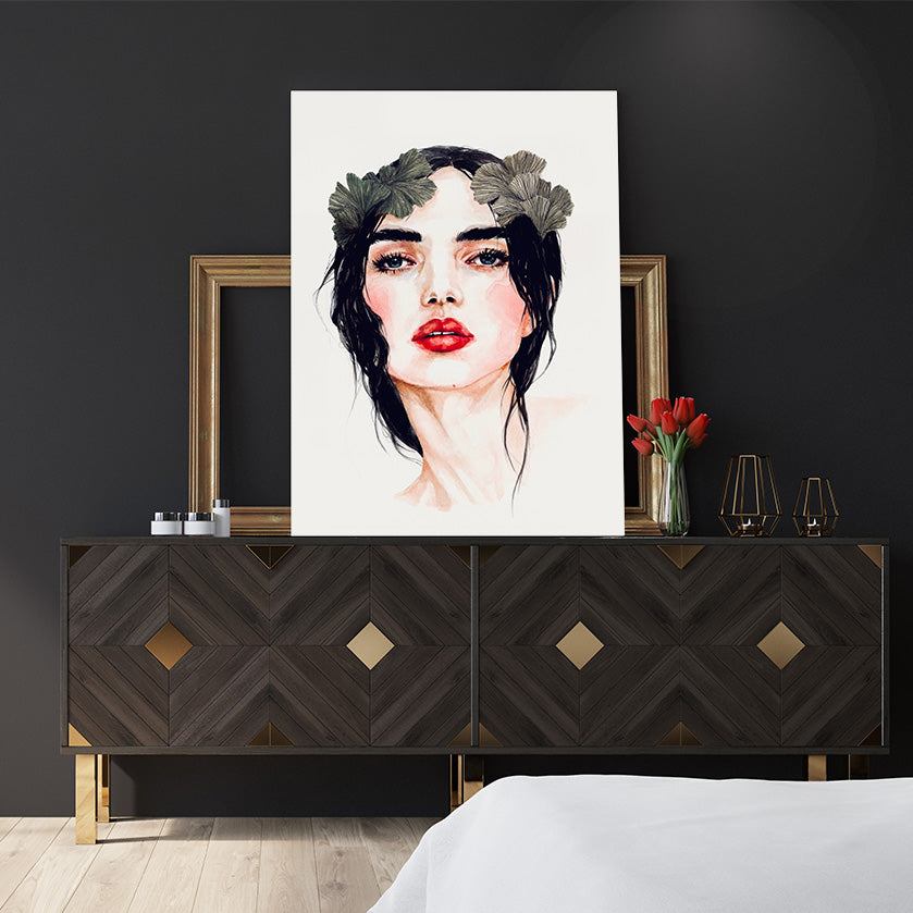 Fashion poster print by Sophia Novosel, with a brunette woman with red lips and leaves in her hair, bedroom view