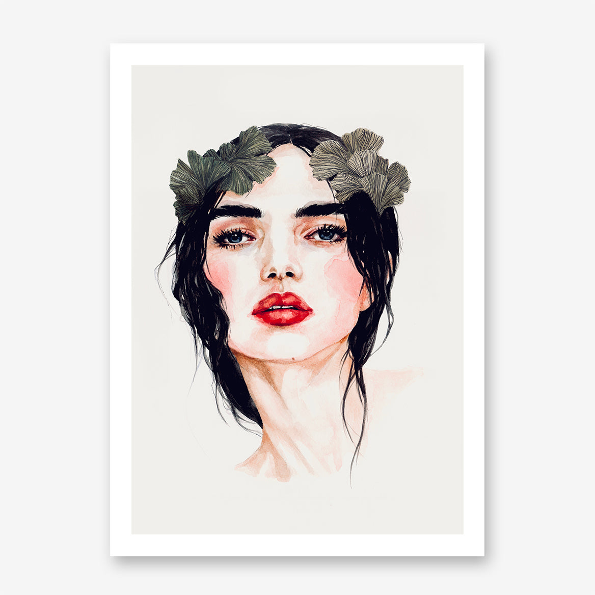 Fashion poster print by Sophia Novosel, with a brunette woman with red lips and leaves in her hair