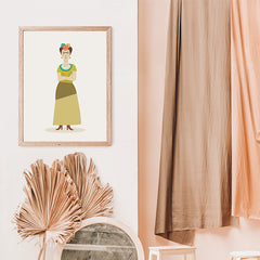 iCelebrity illustration print of Frida Kahlo, stylishly drawn by Judy Kaufmann to bring out the essence of her style and character, in living room