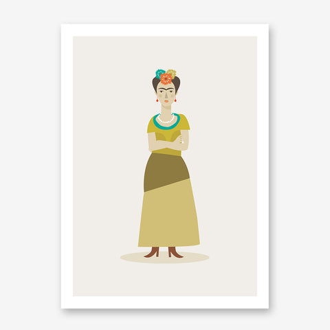 Celebrity illustration print of Frida Kahlo, stylishly drawn by Judy Kaufmann to bring out the essence of her style and character.