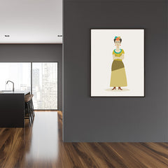 Celebrity illustration print of Frida Kahlo, stylishly drawn by Judy Kaufmann to bring out the essence of her style and character, in dining room